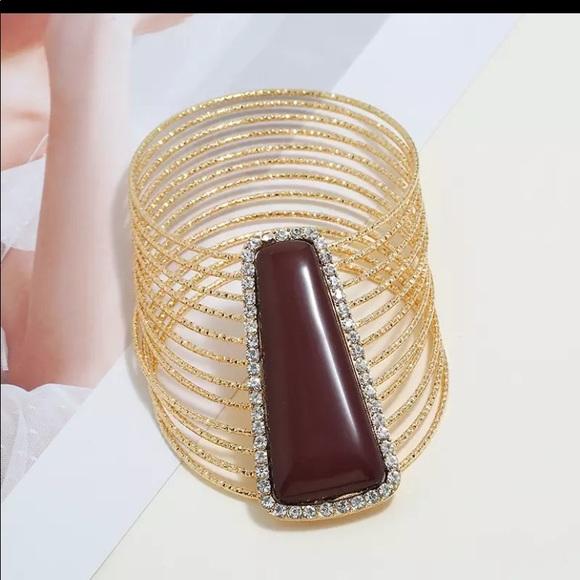 Metal Maxi Mosaic Bangles Cuff Bracelet